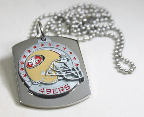 NFL SAN FRANCISCO 49ER'S  X LARGE PENDANT/HELMET ON THICK STAINLESS STEEL DOG TAG