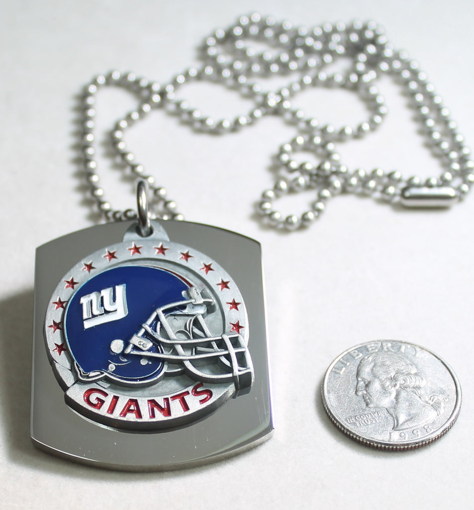 NFL NEW YORK GIANTS  X LARGE PENDANT/HELMET ON THICK STAINLESS STEEL DOG TAG - Samstagsandmore