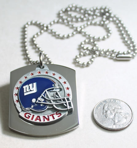 NFL NEW YORK GIANTS  X LARGE PENDANT/HELMET ON THICK STAINLESS STEEL DOG TAG
