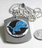 NFL DETROIT LIONS X LARGE PENDANT ON THICK STAINLESS STEEL DOG TAG