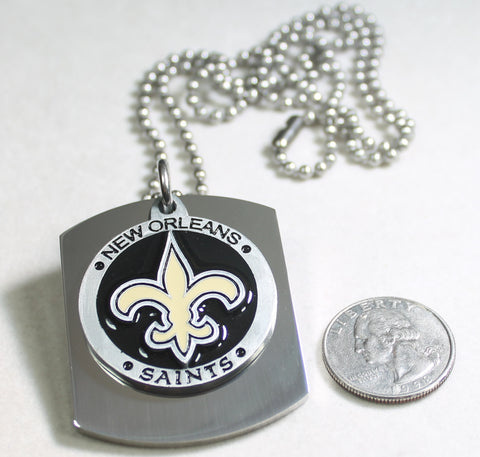 NFL NEW ORLEANS SAINTS  X LARGE PENDANT ON THICK STAINLESS STEEL DOG TAG