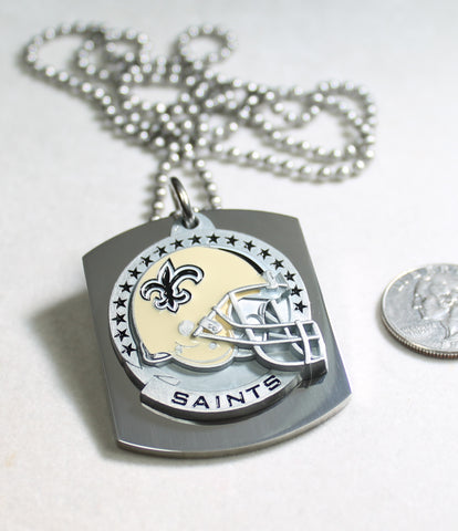 NFL NEW ORLEANS SAINTS  X LARGE PENDANT/HELMET ON THICK STAINLESS STEEL DOG TAG