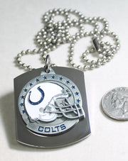 NFL INDIANAPOLIS COLTS  X LARGE PENDANT/HELMET ON THICK STAINLESS STEEL DOG TAG - Samstagsandmore