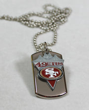 SAN FRANCISCO 49ERS NFL STAINLESS STEEL DOG TAG NECKLACE PENDANT 3D BALL CHAIN - Samstagsandmore