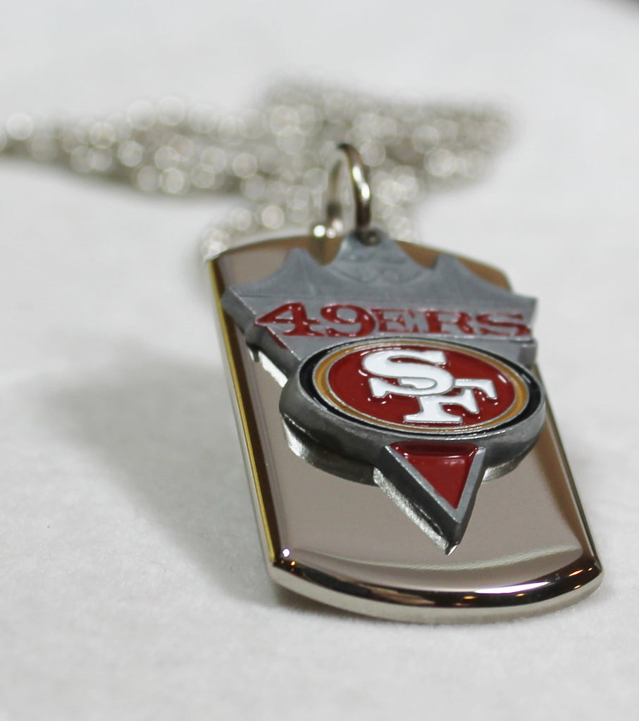 SAN FRANCISCO 49ERS STAINLESS STEEL DOG TAG NECKLACE PENDANT 3D BALL CHAIN