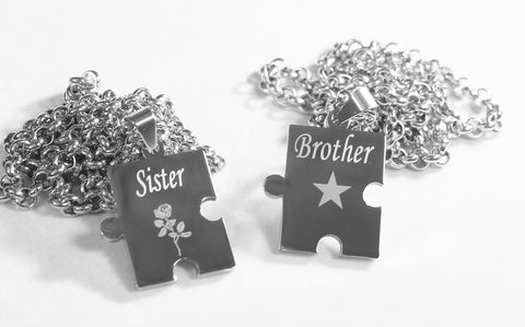 BROTHER SISTER PUZZLE PIECE X2 TAGS, SOLID STAINLESS STEEL ROLO  CHAIN NECKLACE