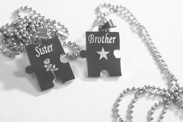 BROTHER SISTER PUZZLE PIECE TWO DOG TAGS, SOLID STAINLESS STEEL BALL  CHAIN NECKLACE - Samstagsandmore