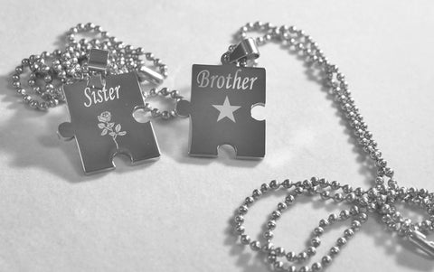 BROTHER SISTER PUZZLE PIECE TWO DOG TAGS, SOLID STAINLESS STEEL BALL  CHAIN NECKLACE