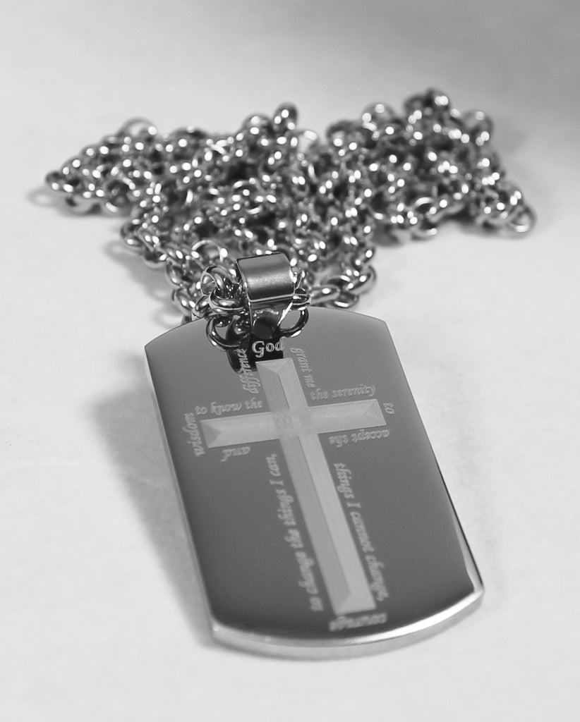 SERENITY PRAYER AROUND CROSS SOLID THICK STAINLESS STEEL RELIGION NECKLACE