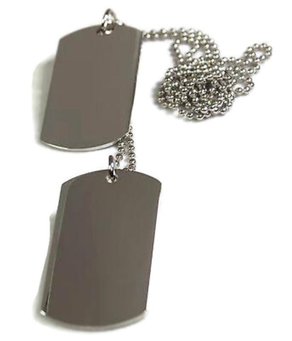 2 Silver Color Stainless Steel Dog Tag Pendant Necklace Military Style with ball chain