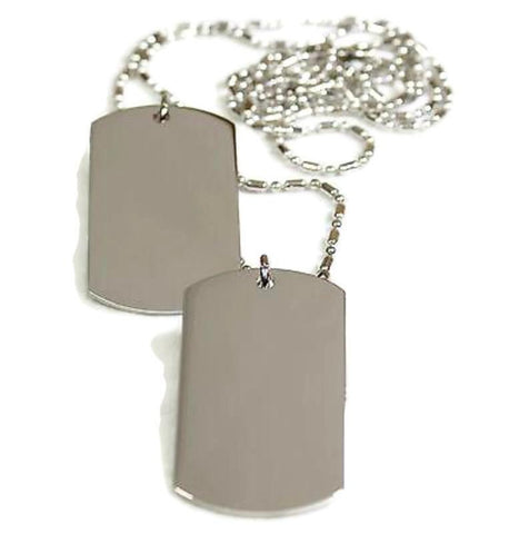 2 Stainless Steel Sausage Chain Dog Tag Pendant Necklace Military Style - Samstagsandmore