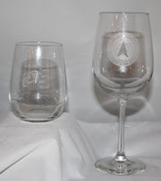 SET of 4 WINE GLASSES custom SAND CARVED USMMA USNA USAFA graduation commencement - Samstagsandmore