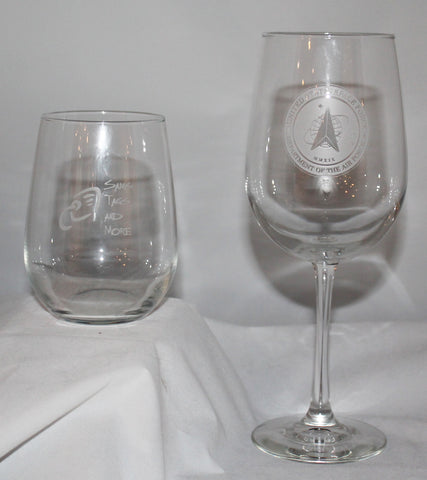 SET of 4 WINE GLASSES custom SAND CARVED USMMA USNA USAFA graduation commencement