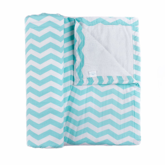 Aqua Chevron Beach Blanket