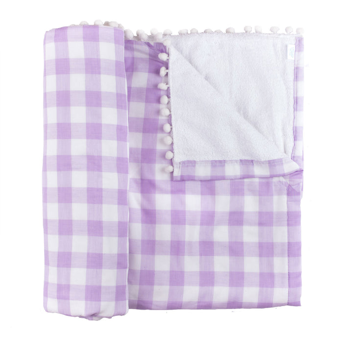 Lilac Gingham Beach Blanket