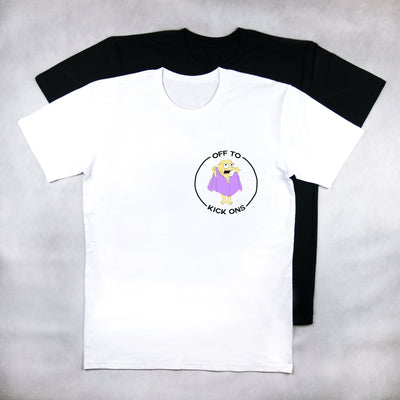 Classy Duds Short Sleeve T-Shirts S / White / Standard Off To Kickons Two Tee
