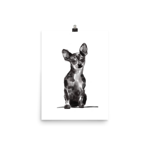 black and white watercolor of a deer headed chihuahua - art painting- dog art print - chihuahua wall art and home decor
