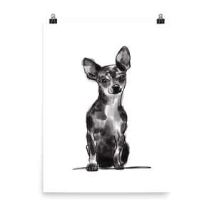 Shorthaired Chihuahua Pen + Ink Art Print