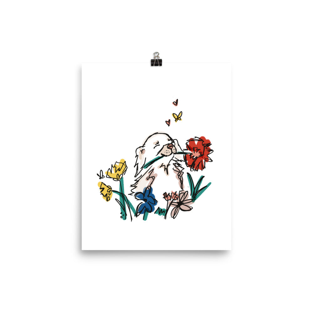 Chihuahua in the Flower Garden Art Print
