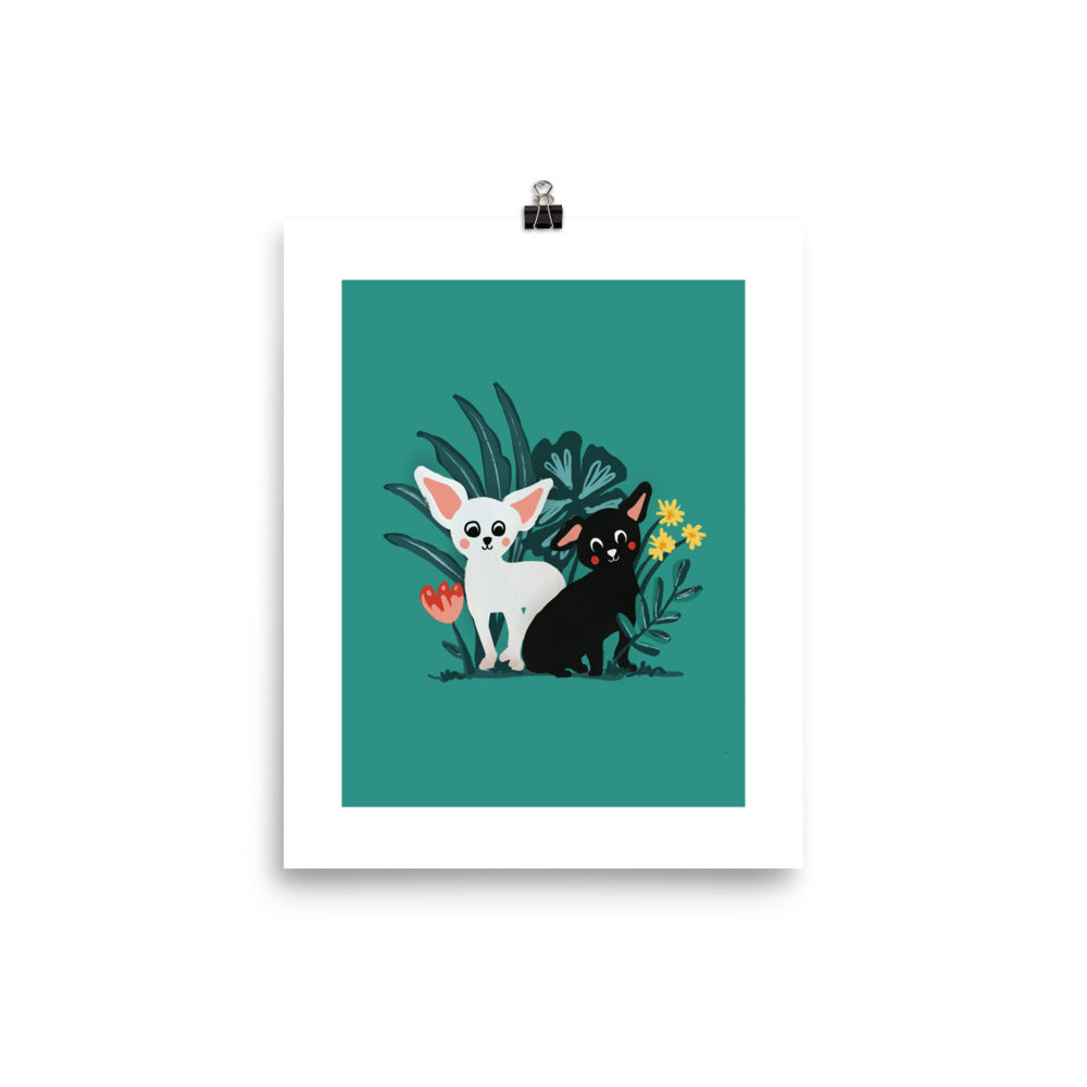 White & Black Chihuahuas in the Wilderness Wall Art