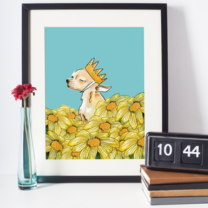 sunny flower power chihuahua art - - dog art print - chihuahua wall art and home decor