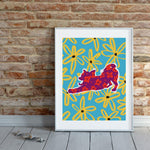 - dog art print - chihuahua wall art and home decor - brick wall