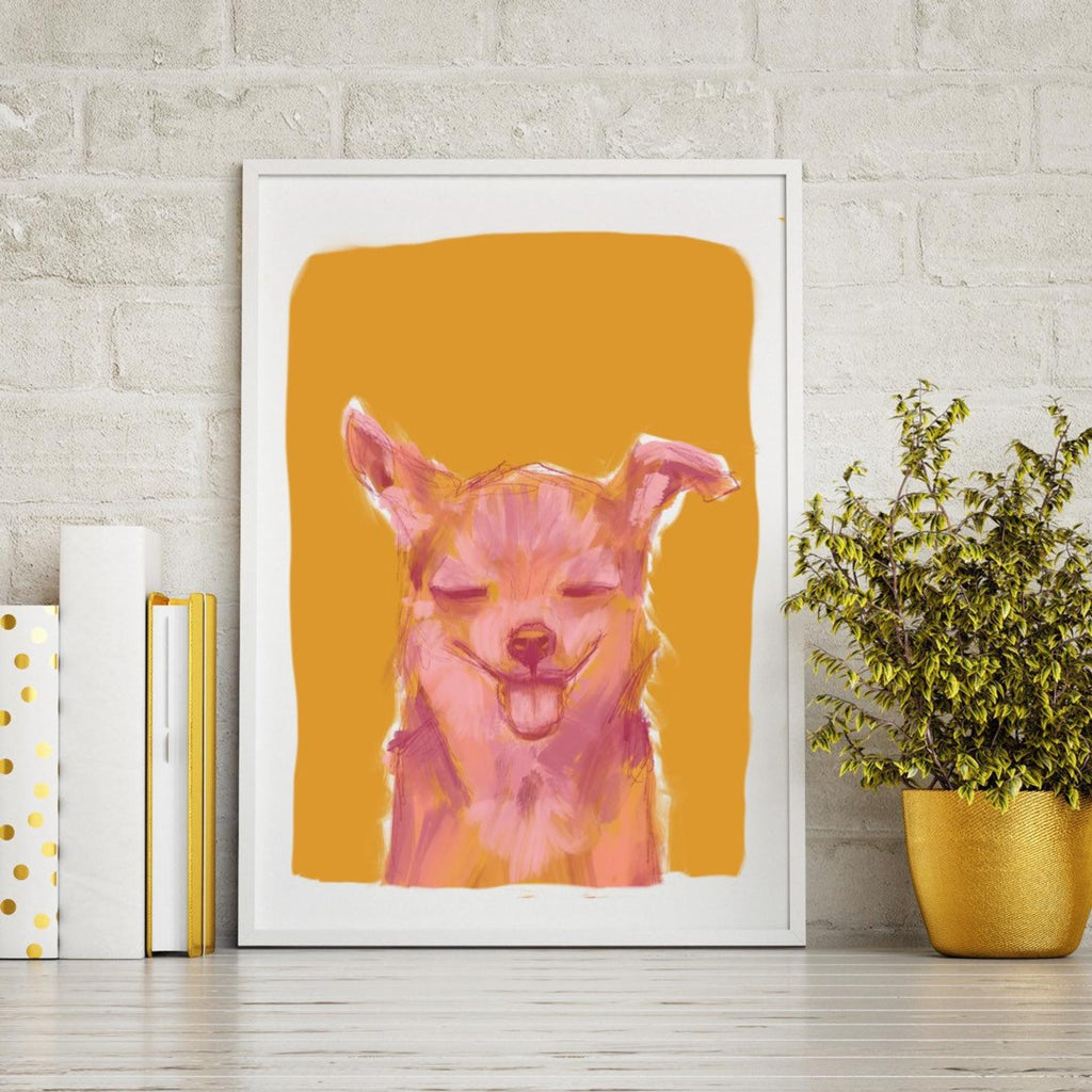 Orange & Pink Chihuahua Print | Wall Art