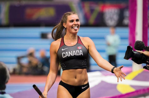 Alysha Newman, Canadian Pole Vaulter, at the Rio 2019 Olympics, making a funny face to the camera