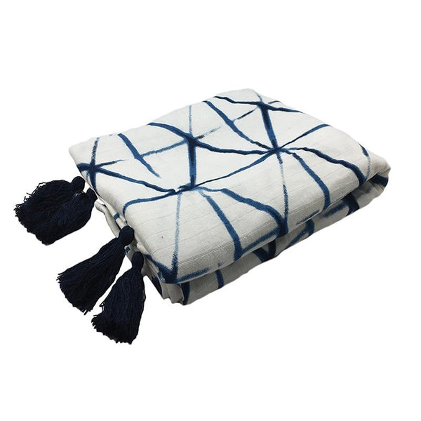 SHIBORI THROW | Indigo