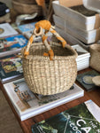 SMALL BASKET | Round with leather handle