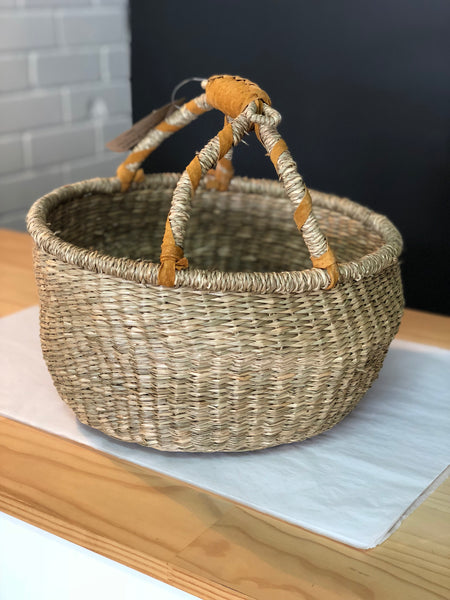 MEDIUM BASKET | Round with leather handle