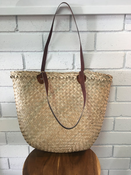SEAGRASS MARKET BASKET | Leather Handles