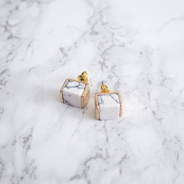 Ariana Marble Stud Earrings