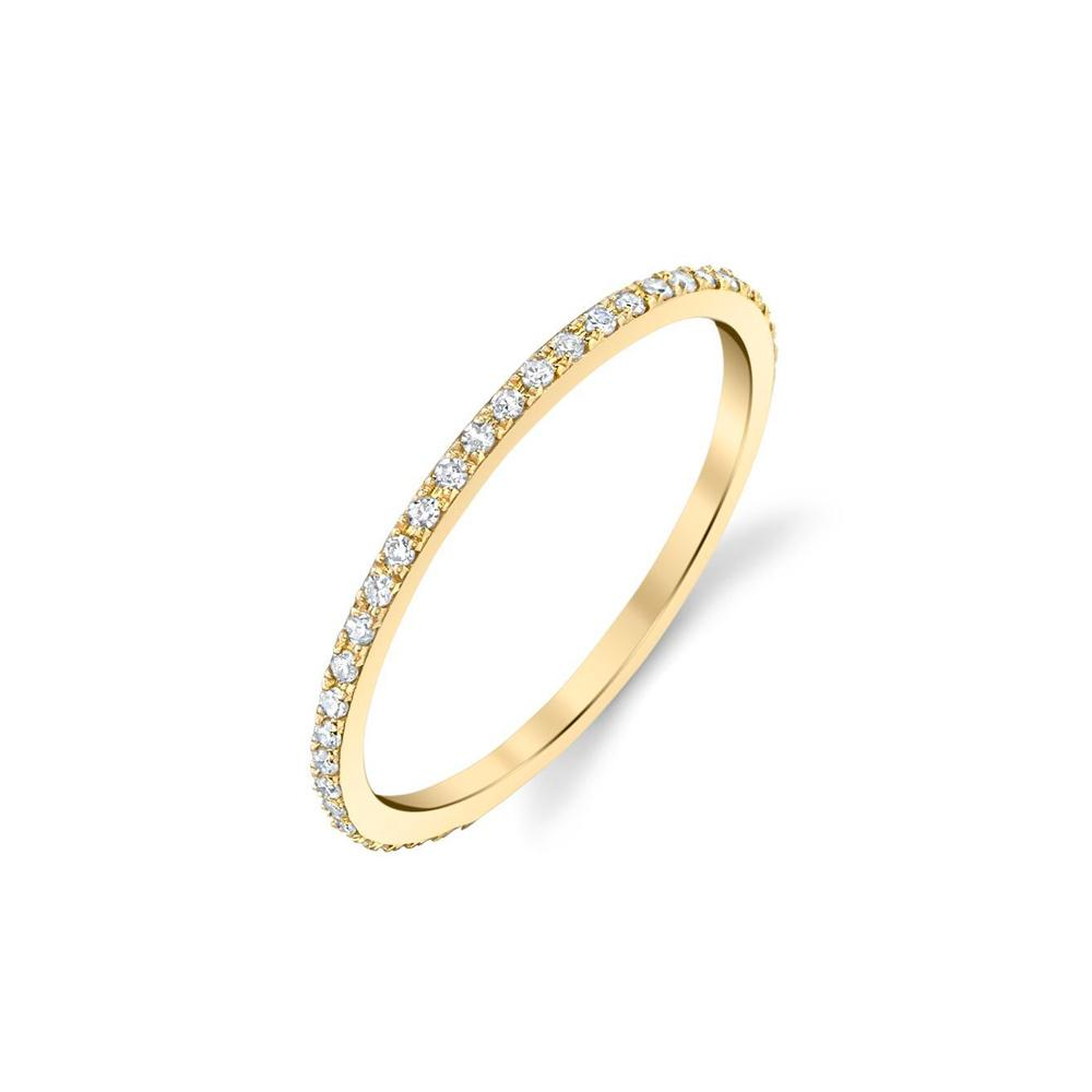 Axis Ring in 14k Gold with White Pavé Diamonds