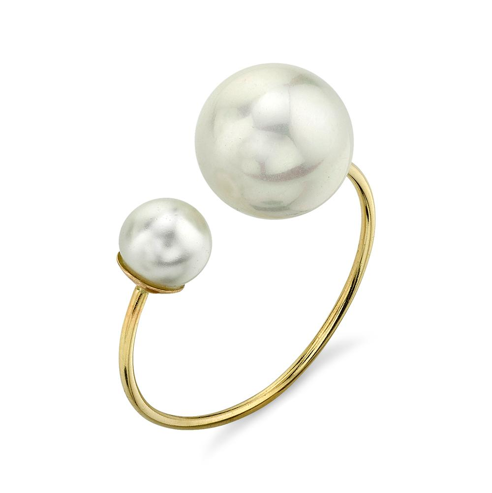 Asymmetrical Suspended Ring in 14k Gold with Mother of Pearl
