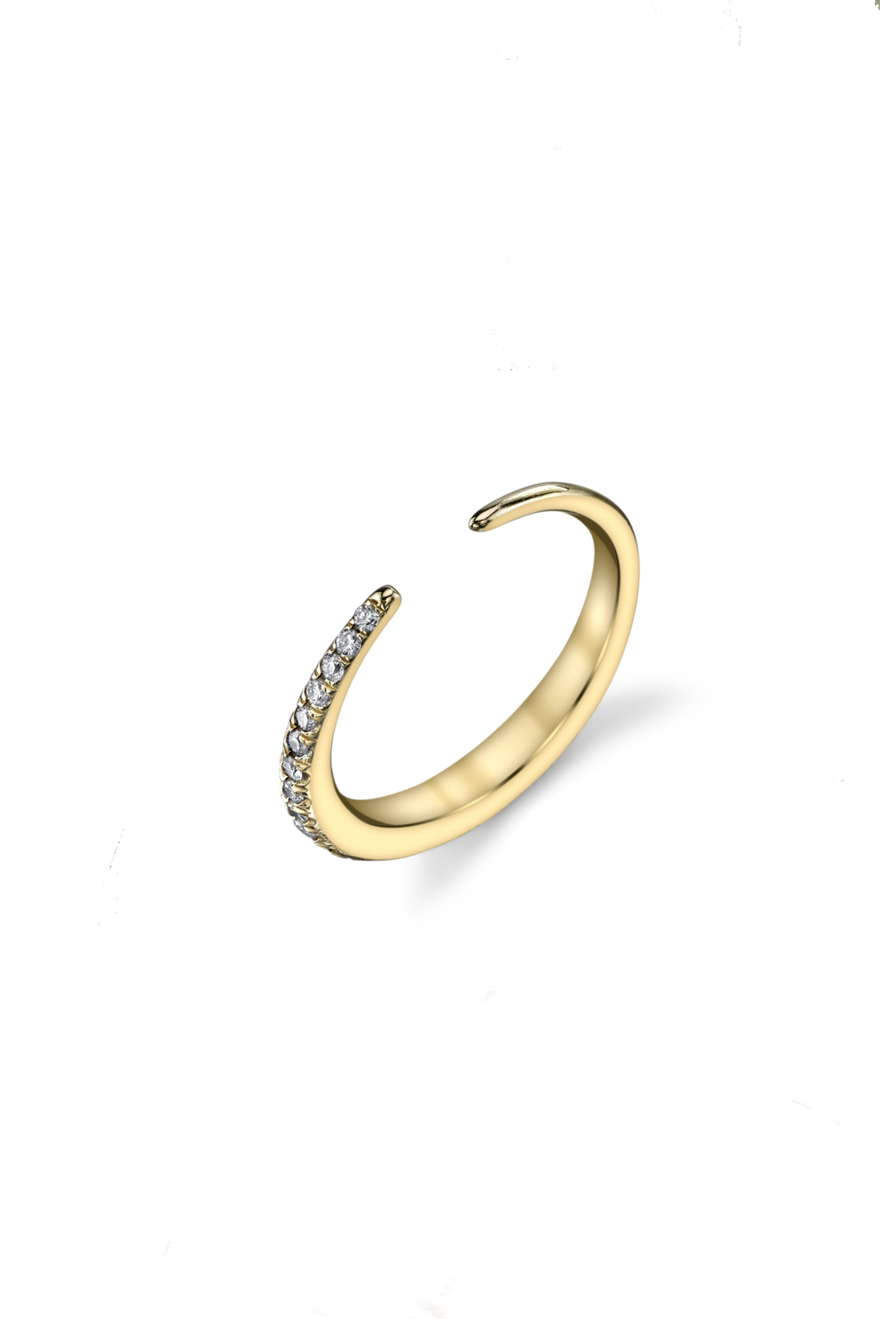 Infinite Tusk 1/2 Pave Ring in 14K Gold