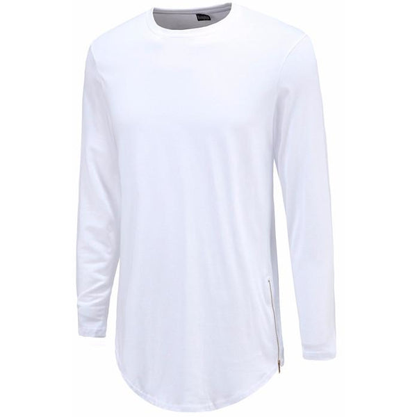 Men's Long Tee Curved White