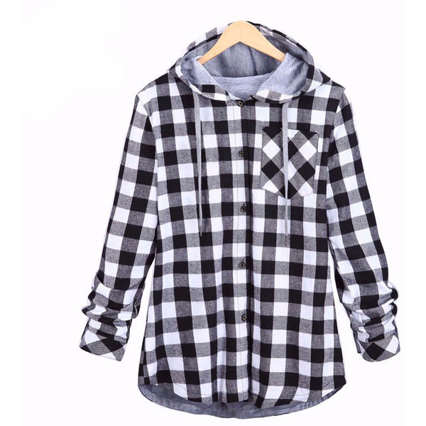 Men's Casual Flannel Hoodie Gray