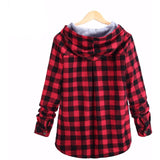 Men's Casual Flannel Hoodie Red