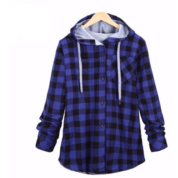 Men's Casual Flannel Hoodie Blue