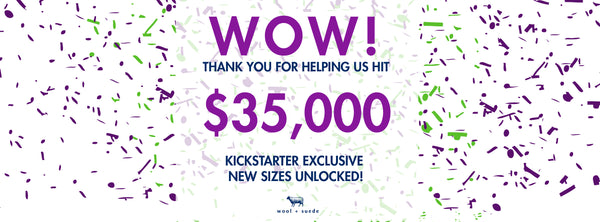 wool + suede - 35,000 stretch goal achieved