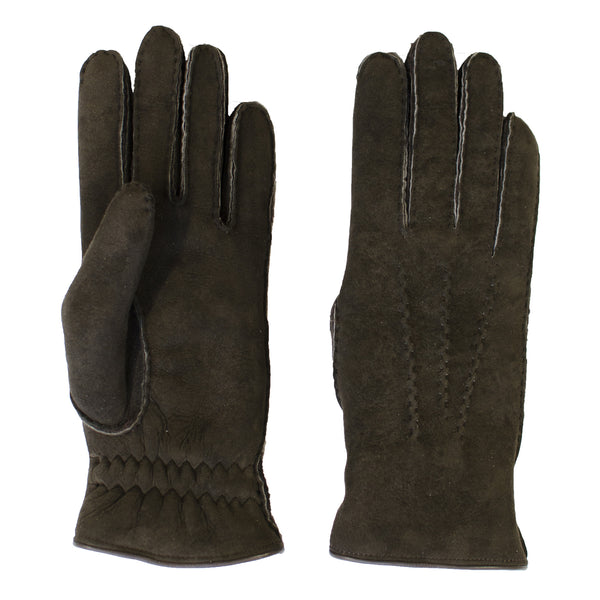 shearling gloves - chocolate brown