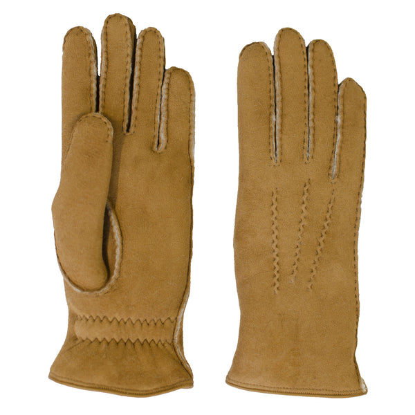 shearling gloves - camel
