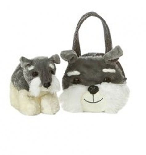 Plush Schnauzer Puppy in Bag