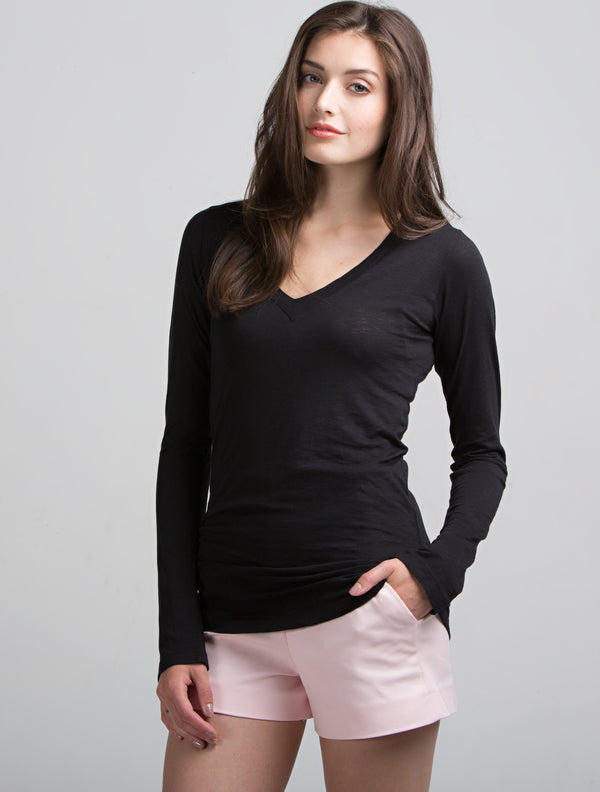 Long Sleeve Deep V (Black)
