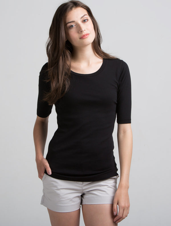 Elbow Sleeve Scoop Neck (Black)