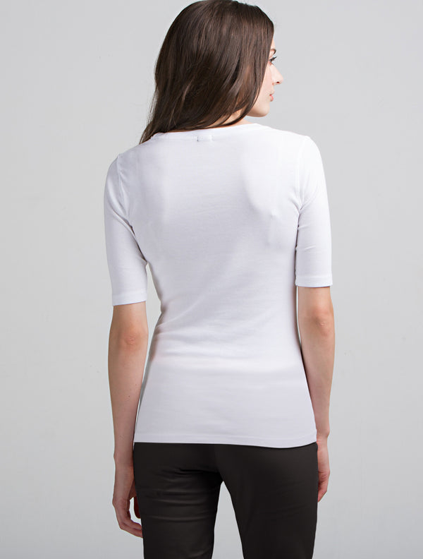 Elbow Sleeve Scoop Neck