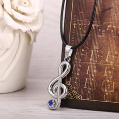 Stylish Treble Clef (G Clef) Blue Crystal Pendant