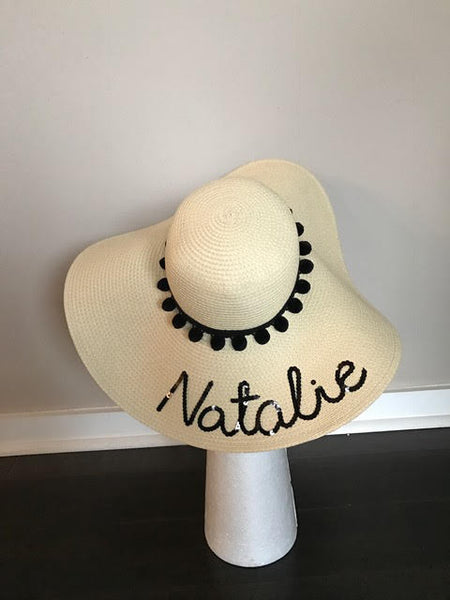 Custom Name Black Pom Pom Floppy Sun Hat