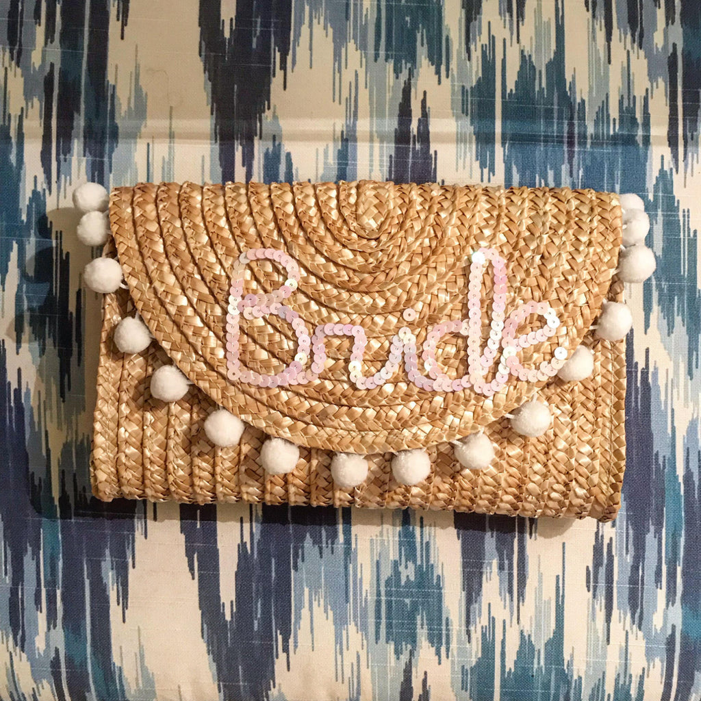 Custom Pom Pom & Sequin Clutch